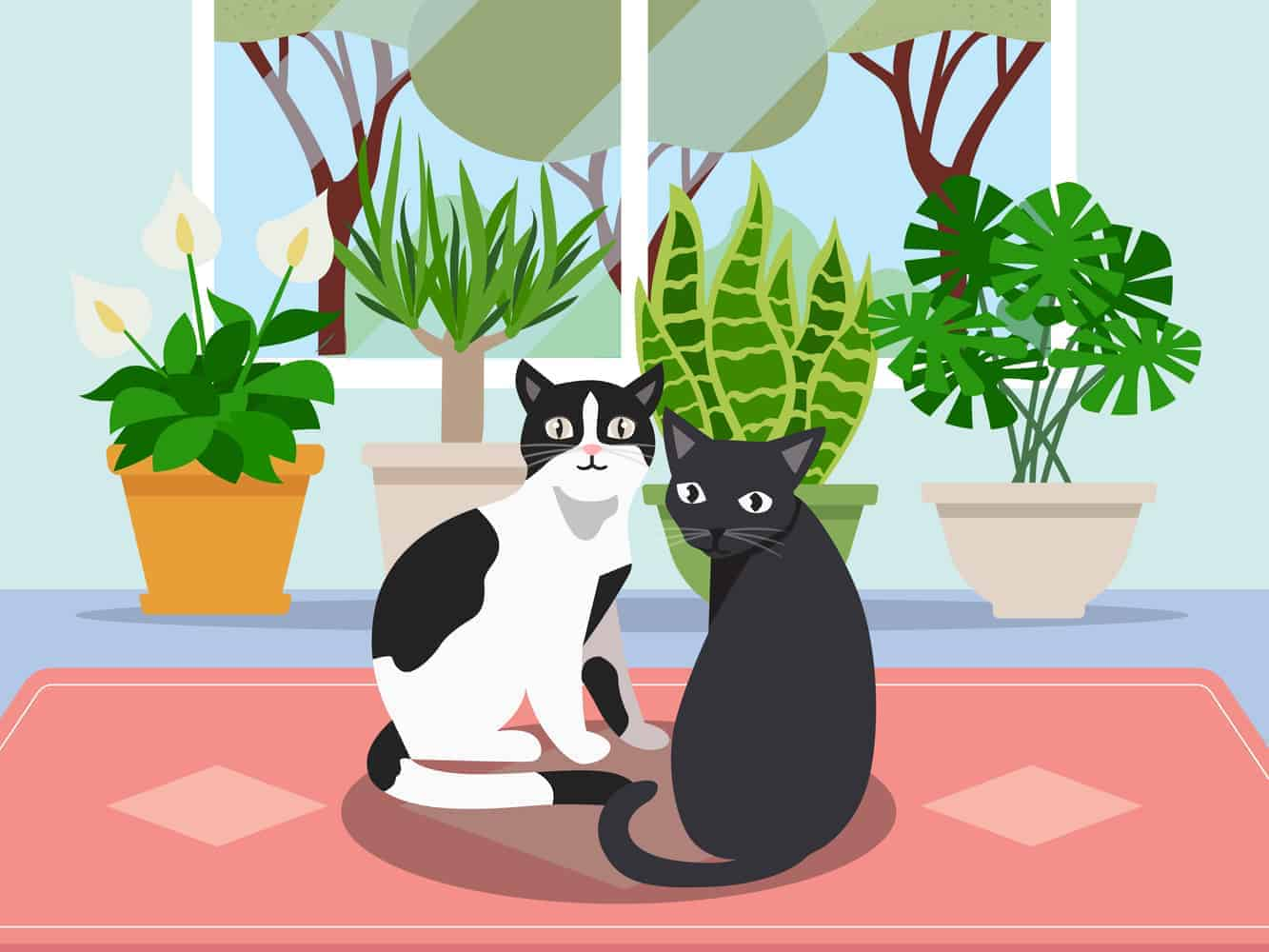 two cats next to cat friendly plants in a house
