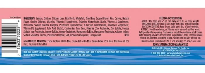 natural balance cat food ingredients